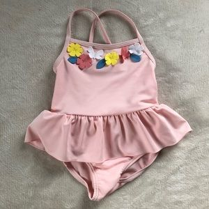 Baby Girl Pink Floral/ Flowers Swimsuit
